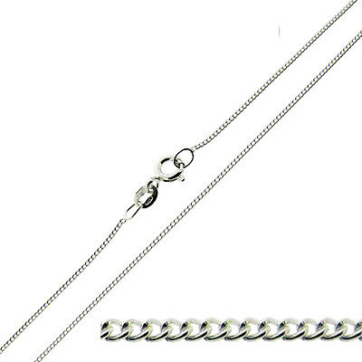 9ct Solid White Gold  Diamond Cut Curb Chain Necklace 18""