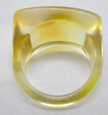 VINTAGE HIPPY RETRO MOD 1970'S LUCITE DOME BOHO RING Size 9 Yellow Brown