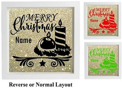 Vinyl sticker For 20x20cm DIY Box Frame MERRY CHRISTMAS personalised Gift Xmas