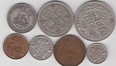 1933 George V Part Set Of 7 Coins In Fine Or Better Condition