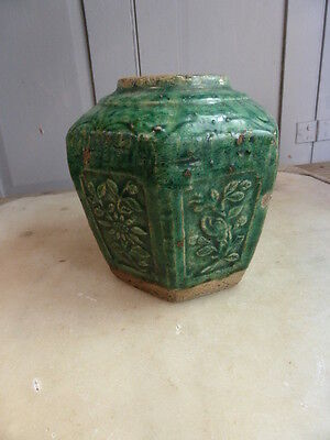 Antique Chinese green glazed pottery Ginger Jar