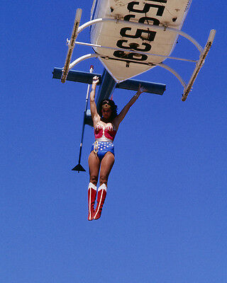Wonder Woman Lynda Carter jumping from helicopter in costume 8x10 Photo