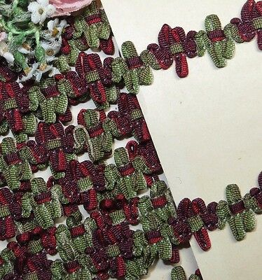 1y VTG FRENCH OMBRE RED GREEN ROSE ROCOCO ROSETTE TRIM RIBBON ANTQ DOLL JACQUARD