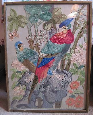 Vtg Framed Crewel NeedleWork Embroidery Parrot Birds Perched in Tree & Butterfly