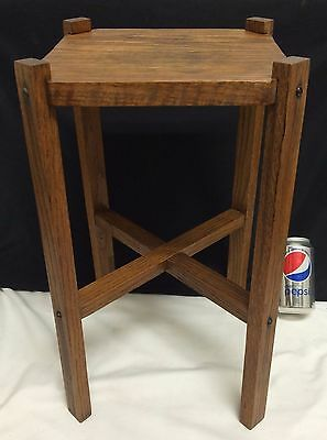 Antique Arts Crafts Mission Oak Small Miniature Fern Plant Stand Side Table