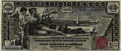 """A Super Nice 1896 $1.00 Lg Size SILVER CERTIFICATE """"EDUCATIONAL"""" FR#224  VF+"""