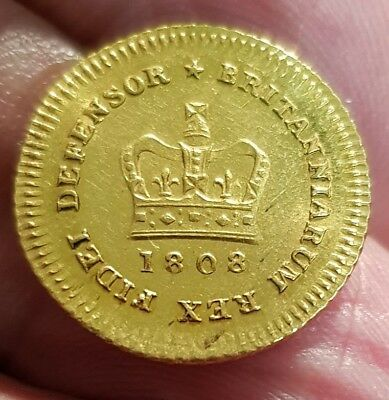 1808 George Iii Gold Third-Guinea High Grade Rare In This Condition Spink 3740