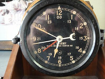 WWII Chelsea US Army Clock Message Center M2 In Wood Case with Key