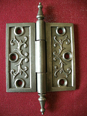 1 Vintage Victorian Clasp Detailed 4 X 4 Ornate Door Hinge Iron Cast Metal