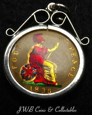 1836 William IV Enamelled Silver Groat / Fourpence Coin In Mounted Pendant