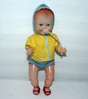 Vintage Baby Doll Made In Italy Soft Light Plastic 9 1/2""