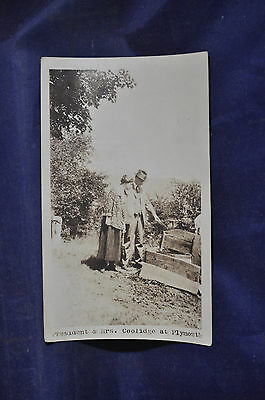1924 RPPC President & Mrs. Coolidge at Plymouth, Vermont Postcard