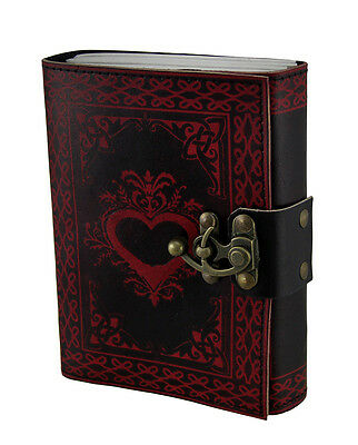 Black and Red 2-Tone Embossed Heart Celtic Leather Bound Journal 5 X 7 Inch
