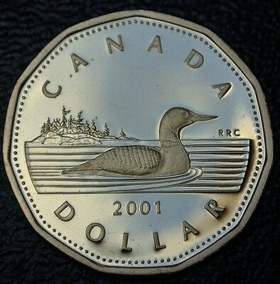2001 CANADA $1 LOONIE - FROSTED PROOF  - Loon - NOT ISSUED FOR CIRCULATION