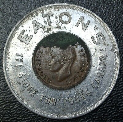 1947 ML CANADA One Cent ENCASED - EATON'S The Store For Young Canada - RARE