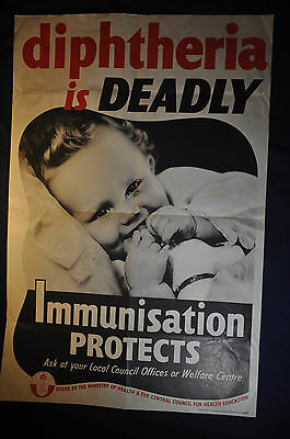 1943 WW2 Diptheria is Deadly Immunisation Protects Home Front Poster
