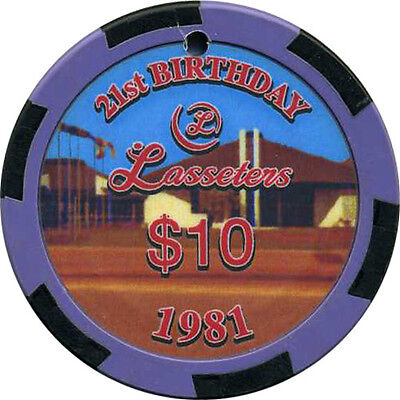 LASSETERS $10 Casino Chip Alice Springs NT Australia 21st Birthday 'drilled'