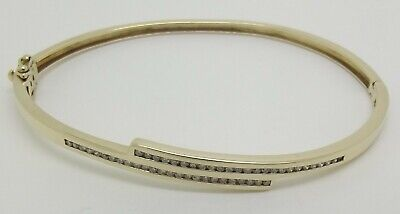 Solid 9Ct Yellow Gold Hinged Bangle Set With 50 X Diamonds – Valued $2397
