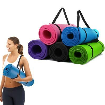 "10mm Thick Nbr Exercise Yoga Mat Gym Workout Fitness Gymnastics Mats Pad 72""x24"""