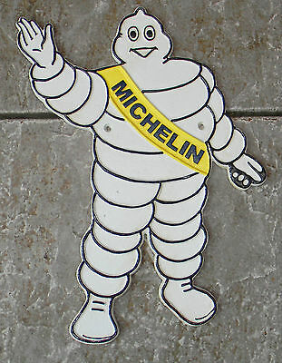 """Superb Large Cast Iron Waving Michelin Man  Advertising Sign Or Plaque 14"""" Tall"""