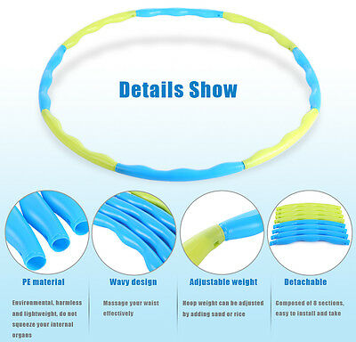 Detachable Hula Hoop Weighted Fitness Massager Workout Waist Slimming Exercise