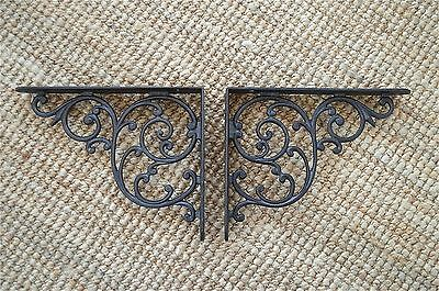 "Pair of antique Regency cast iron wall shelf brackets bracket 10"" x 8"" AL21"