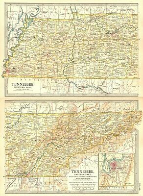 TENNESSEE. State map. Shows civil war battlefields. Inset Chattanooga 1903