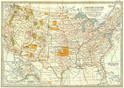USA. United States showing Indian reserves, national park & forests 1903 map
