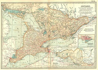 CANADA. Ontario; Inset Toronto 1903 old antique vintage map plan chart