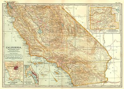 CALIFORNIA. South; Los Angeles, San Diego, Yosemite national park 1903 old map