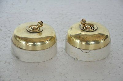 2 Pc Vintage Brass & Ceramic Big Size Victorian Electric Switches, Britain