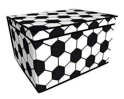 FOOTBALL JUMBO STORAGE BOX CHEST 50 x 30 x 40CM FOLDS FLAT BOYS CHILDRENS CHILDS