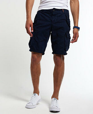 New Mens Superdry Core Cargo Heavy Shorts Deep Navy