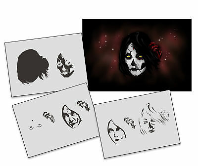 Step by Step Stencil AS-313 La Mortem ~ UMR Airbrush Schablone