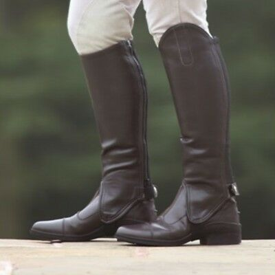 SHIRES ADULTS SYNTHETIC LEATHER GAITERS BROWN horse riding easy clean chaps 9619