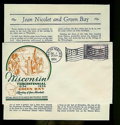 Wisconsin 300th Anniv 739-22 Unoff West De Pere Flag cxl Jean Nicolet Text Sheet