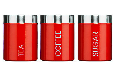 Premier Housewares Tea Coffee Sugar Canisters Storage Jars Set of 3 Red Kitchen