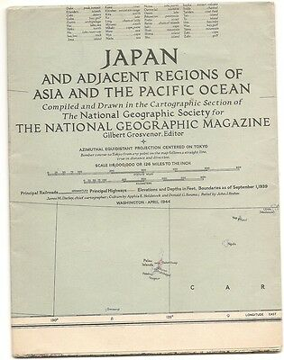 1944 National Geographic map Japan and Adjacent Regions (WWII era)