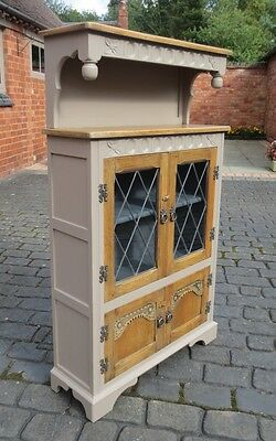 Antique Style Painted & Waxed Oak Lead Glazed Cabinet, Small Court Cupboard