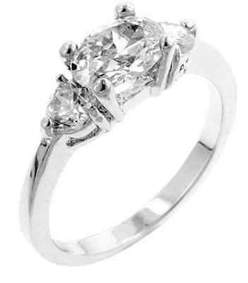 14K White Gold GB Three Stone 2.25ct Simulated Diamond Sz 8 Engagement Ring G64