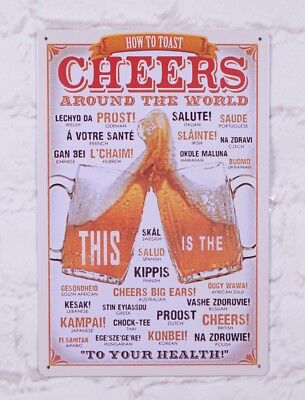 Cheers Beer Metal Tin Poster Pub Bar Custom Wall Decor Plaque Man Cave Vintage