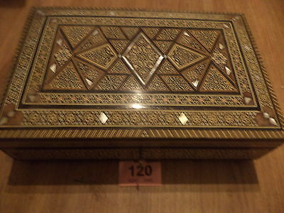 Ornate inlaid musical wooden jewellery box