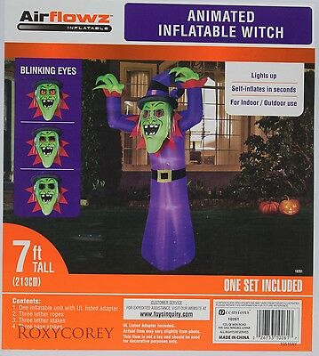 Halloween Airflowz 7 ft Animated Blinking Eyes Witch Airblown Inflatable NIB