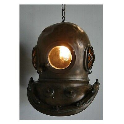 Antique Bronze Mark V Diver's Helmet Pendant Chandelier Old Style Brass