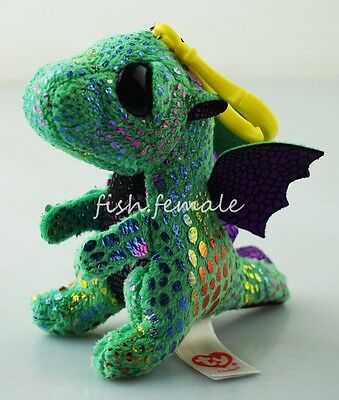 "3.5"" Cinder Dinosaur  Dragon TY Beanie Boos Plush Stuffed Toys Key Clip Dolls"