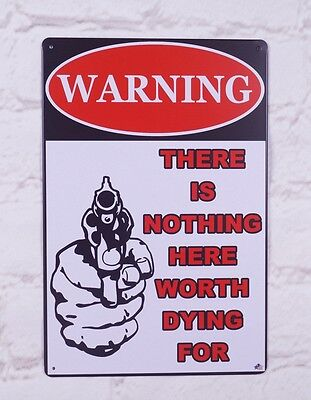 Warning Signs wall poster Vintage metal Tin sign Home Pub Bar Outdoor Decor