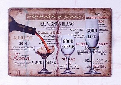 Cood Wine Vintage Tin Signs Bar Home Pub Wall Decor Poster Retro Metal Plate