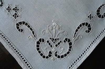 Antique Linen Tray Doily Placemat Italian Hand Embroidered Cutwork