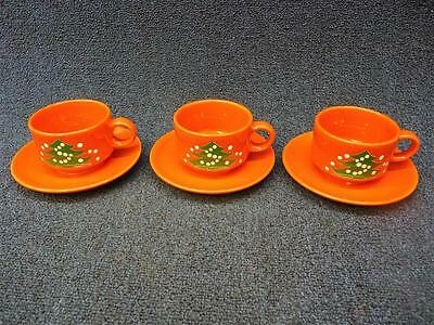 3 Waechtersbach West Germany Christmas Tree Cups & Saucers VGC (gs)