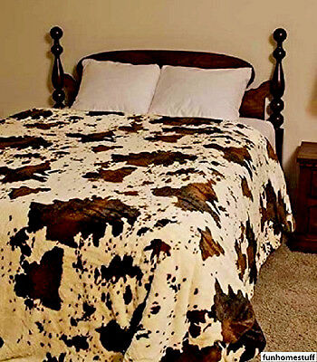 """New Rodeo Cow Print Queen Size 79"""" X 96"""" Soft Faux Fur Medium Weight Bed Blanket"""